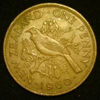 1 пенни 1960 год Новая Зеландия