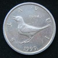 1 куна 1999 год Хорватия 5 лет национальной валюте