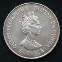 50 пенсов 1987 год Тристан-да-Кунья 40 лет со дня свадьбы Королевы Елизаветы II и Принца Филиппа
