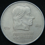 20 марок 1972 год ГДР Фридрих фон Шиллер