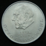 20 марок 1973 год ГДР Отто Гротеволь