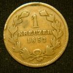 1 крейцер 1852 год Баден