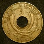 5 центов 1941 год Британская Восточная Африка