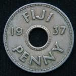 1 пенни 1937 год ФИДЖИ