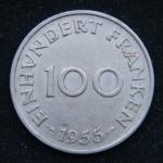 100 франков 1955 год СААР
