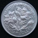 1 доллар 1970 год Канада 100 лет со дня присоединения Манитобы
