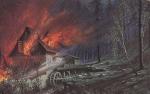 Почтовая карточка Германия 1913 год Пожар в лесу