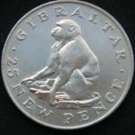 25 новых пенсов 1971 года Гибралтар