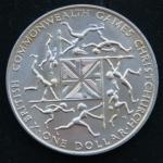1 доллар 1974 год Новая Зеландия   Британские Игры Содружества