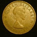 1 пенни 1961 год Новая Зеландия