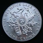 1 крона 1980 год Остров Мэн XIII зимние Олимпийские Игры, Лейк-Плэсид 1980