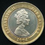 2 фунта 2004 год Гибралтар  300 лет захвату Гибралтара