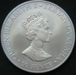 50 пенсов 2000 год Тристан-да-Кунья 50 лет со дня рождения Принцессы Анны