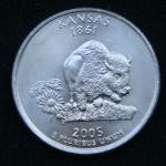25 центов 2005 год Квотер штата Канзас