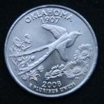 25 центов 2008 год Квотер штата Оклахома