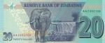 20 долларов 2019 года Зимбабве